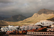 View of the volcanic mountains surrounding the resort of San Eugenio, between the popular Playa de las Americas and Costa Adeje.
