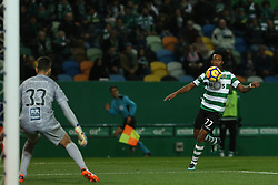 December 17, 2017 - Lisbon, Lisbon, Portugal - Sportings forward Gelson Martins from Portugal (R) and Portimonense's goalkeeper Ricardo Ferreira (L) during Premier League 2017/18 match between Sporting CP and Portimonense SC,.at Alvalade Stadium in Lisbon on December 17, 2017. (Credit Image: © Dpi/NurPhoto via ZUMA Press)