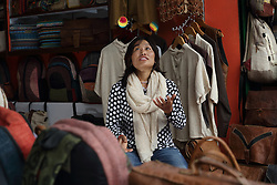Sunti Purja is the manager of the shop called Rhitu Saugat, the retail outlet for finished products made by village members who have had training by MEDEP, Pokhara, Nepal.