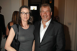 SIMON KELNER and his wife SALLY-ANN at a party to celebrate the publication of Dell'Olio's book 'My Beautiful Game' held at the Italian Embassy, Grosvenor Square, London on 17th April 2008.<br />