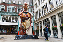 © Licensed to London News Pictures. 24/06/2017. LONDON, UK. Damien Hirst's Temple sculpture is displayed in front of the Walkie Talkie skyscraper building as part of Sculpture in the City in the City of London. 'Temple' is a 21-foot painted bronze sculpture that weighs over three tonnes. Made in 2008, it presents a male torso whose partial exposure reveals the underlying musculature and organs. Sculpture in the City is the City of London's annual free public art programme set amongst iconic architectural landmarks.  Photo credit: Vickie Flores/LNP