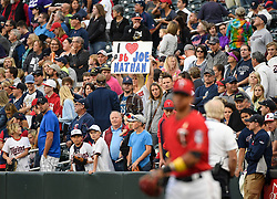 September 1, 2017 - Minneapolis, MN, USA - A fan acknowledges former Minnesota Twins pitcher Joe Nathan after he threw out the ceremonial first pitch as the Twins play host to the Kansas City Royals on Friday, Sept. 1, 2017, at Target Field in Minneapolis. (Credit Image: © Aaron Lavinsky/TNS via ZUMA Wire)