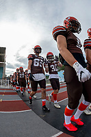 KELOWNA, BC - AUGUST 17:  Sam Henneberry #30 and Kyle ZAKALA #85 of Okanagan Sun walk to the field against the Westshore Rebels  at the Apple Bowl on August 17, 2019 in Kelowna, Canada. (Photo by Marissa Baecker/Shoot the Breeze)