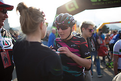 Lisa Brennauer (Canyon//SRAM Cycling Team) discusses the race with a helper after the Trofeo Alfredo Binda - a 123.3km road race from Gavirate to Cittiglio on March 20th 2016.