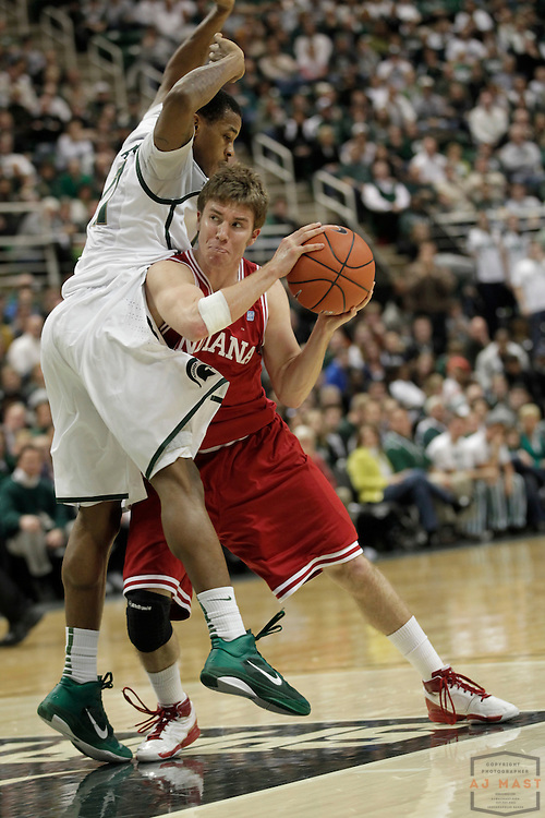 30 January 2011: Indiana guard Jordan Hulls (1) as the Indiana Hoosiers played the Michigan State Spartans in a college basketball game in East Lansing, Mich.