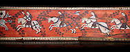 Gothic decorative painted beam panels with gknights on horses, Tempera on wood. National Museum of Catalan Art (MNAC), Barcelona, Spain, Against a black background. .<br /> <br /> If you prefer you can also buy from our ALAMY PHOTO LIBRARY  Collection visit : https://www.alamy.com/portfolio/paul-williams-funkystock/gothic-art-antiquities.html  Type -     MANAC    - into the LOWER SEARCH WITHIN GALLERY box. Refine search by adding background colour, place, museum etc<br /> <br /> Visit our MEDIEVAL GOTHIC ART PHOTO COLLECTIONS for more   photos  to download or buy as prints https://funkystock.photoshelter.com/gallery-collection/Medieval-Gothic-Art-Antiquities-Historic-Sites-Pictures-Images-of/C0000gZ8POl_DCqE