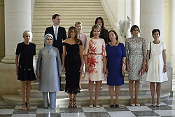 May 25, 2017 - Brussels, BELGIUM - (front row L-R) First Lady of France Brigitte Macron, First Lady of Turkey Emine Gulbaran Erdogan, First Lady of the US Melania Trump, Queen Mathilde of Belgium, Stoltenberg's partner Ingrid Schulerud, Partner of Bulgaria's President Desislava Radeva, partner of Charles Michel Amelie Derbaudrenghien, First Gentleman of Luxembourg Gauthier Destenay, Partner of the Slovenia Prime Minister Mojca Stropnik and First Lady of Iceland Thora Margret Baldvinsdottir pictured at a family photo before a diner of the First Ladies and Queen at the Royal castle in Laken/Laeken, on Thursday 25 May 2017, in Brussels. US President Trump is on a two day visit to Belgium, to attend a NATO (North Atlantic Treaty Organization) summit on Thursday. BELGA PHOTO YORICK JANSENS (Credit Image: © Yorick Jansens/Belga via ZUMA Press)