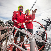 Leg 4, Melbourne to Hong Kong, day 13 on board MAPFRE, Change at the weel, Pablo Arrartre explain to Xabi Fernandez the situation. Photo by Ugo Fonolla/Volvo Ocean Race. 13 January, 2018.