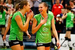 20141217 NED: Challenge Cup, Coolen Alterno - VDK Gent: Apeldoorn<br />Heleen Hesselink en Kathy Bonsen vieren <br />©2014-FotoHoogendoorn.nl / Pim Waslander
