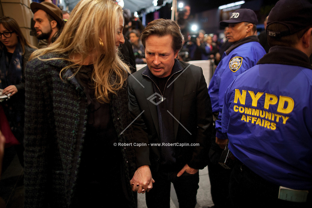 Michael J Fox arrives to see Bruce Springsteen and the E Street Band perform at the Apollo in New York...Photo by Robert Caplin.