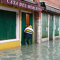 Locals talk about the alarming situation of the rising sea level in Burano. More than 59% of Venice was under water on Thursday, as the historic lagoon town was hit by exceptionally high tides. The sea level rose above 140cm overnight and was expected to remain above critical levels for about 15 hours.