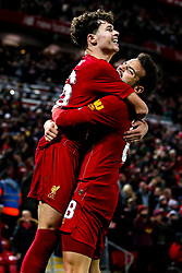 Neco Williams of Liverpool celebrates with Pedro Chirivella of Liverpool after assisting a goal for Divock Origi of Liverpool to make it 5-5 - Mandatory by-line: Robbie Stephenson/JMP - 30/10/2019 - FOOTBALL - Anfield - Liverpool, England - Liverpool v Arsenal - Carabao Cup