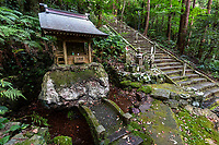 """Shoruji is temple No. 36 on the Shikoku Pilgrimage, located on a peninsula jutting into the Pacific Ocean. Pilgrims used to have to reach the temple by ferry, but in 1975 a bridge was built. The deity of the temple is is venerated as the guardian of fishermen. Shoryuji is known as the """"Green Dragon Temple"""". The environment is fantastically beautiful with bamboo forests and stairs dotted with statues and path markers. Shouryuuji is truly a highlight for any pilgrim. This temple houses the fierce """"Dragon Fudou""""."""
