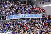 DESCRIZIONE : Campionato 2014/15 Dinamo Banco di Sardegna Sassari - Olimpia EA7 Emporio Armani Milano Playoff Semifinale Gara3<br /> GIOCATORE : Tifosi Pubblico Spettatori Striscione<br /> CATEGORIA : Tifosi Pubblico Spettatori<br /> SQUADRA : Dinamo Banco di Sardegna Sassari<br /> EVENTO : LegaBasket Serie A Beko 2014/2015 Playoff Semifinale Gara3<br /> GARA : Dinamo Banco di Sardegna Sassari - Olimpia EA7 Emporio Armani Milano Gara4<br /> DATA : 02/06/2015<br /> SPORT : Pallacanestro <br /> AUTORE : Agenzia Ciamillo-Castoria/L.Canu