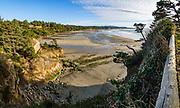 Beach view south from Devils Punchbowl State Natural Area, Otter Rock, Oregon coast, USA. Multiple overlapping photos were stitched to make this panorama.
