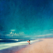 Man with surfboard on a beach - abstract seascape<br /> Redbubble prints--> https://rdbl.co/2nz41xu