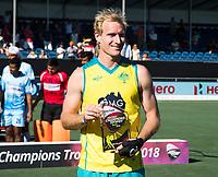 BREDA - Best player, Aran Zalewski (Aus)  Australia-India (1-1), finale Rabobank Champions Trophy 2018. Australia wint shoot outs.  COPYRIGHT  KOEN SUYK