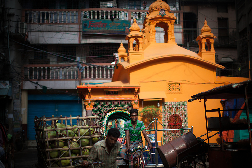 A street scene around a Hindu temple in old Dhaka, Bangladesh.
