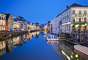 View of the canal in Gent (ghent) in Belgium at dusk by a clear evening