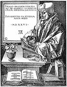 Desiderus Erasmus (1465-1536) Dutch humanist and scholar, using writing slope.  Engraving after Durer.