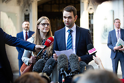 "© Licensed to London News Pictures. 10/10/2018. London, UK. Daniel and Amy McArthur, owners of Ashers Bakery in Belfast, speak to media outside The Supreme Court. Today the Supreme Court ruled that they did not discriminate against a customer by refusing to decorate a cake with the slogan ""Support Gay Marriage"". The case has become known as the 'gay cake' case. Photo credit : Tom Nicholson/LNP"