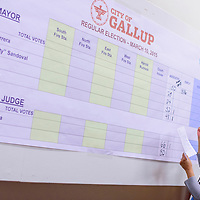 031015       Cable Hoover<br /> <br /> Deputy city clerk Brenda Romero posts the voting totals on a large graph at the City Hall in Gallup Tuesday.