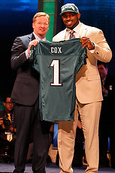 The Philadelphia Eagles first round Draft pick Fletcher Cox poses for a picture with NFL Commissioner Roger Goodell during the first round of the NFL Draft on April 26th 2012 at Radio City Music Hall in New York, New York. (AP Photo/Brian Garfinkel)
