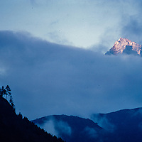 Clouds shroud a mountain in the Khumbu region of Nepal 1986.