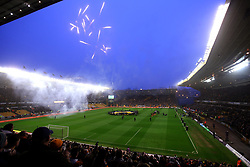 Wolverhampton Wanderers and Derby County walk out at Molineux as fireworks are set off - Mandatory by-line: Robbie Stephenson/JMP - 11/04/2018 - FOOTBALL - Molineux - Wolverhampton, England - Wolverhampton Wanderers v Derby County - Sky Bet Championship
