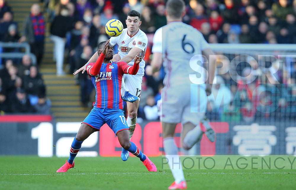 Crystal Palace's Christian Benteke is challenged by Sheffield United's John Egan during the Premier League match at Selhurst Park, London. Picture date: 1st February 2020. Picture credit should read: Paul Terry/Sportimage