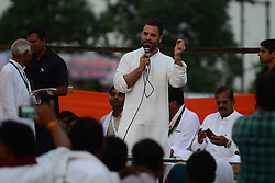 September 15, 2016 - Kaushambi, India - Indian Congress party's vice president and leader Rahul Gandhi addresses a public meeting, popularly known as Khaat Panchayats, where organizers make arrangement of thousands of Khaats (cots) for the people attending the meetings to sit on them, while listening to their leader, in tenwa village , in Kaushambi on September 15, 2016.Khaat (rustic Hindi word for cot) is symbol of villages in general and of farmers in particular. By naming the public meetings as Khaat Panchayats arranging khaats during the meetings, a strategy has been drawn to connect Rahul and Congress with the farmers of Uttar Pradesh and thus reap the electoral harvests during the next assambly elections  (Credit Image: © Ritesh Shukla/NurPhoto via ZUMA Press)