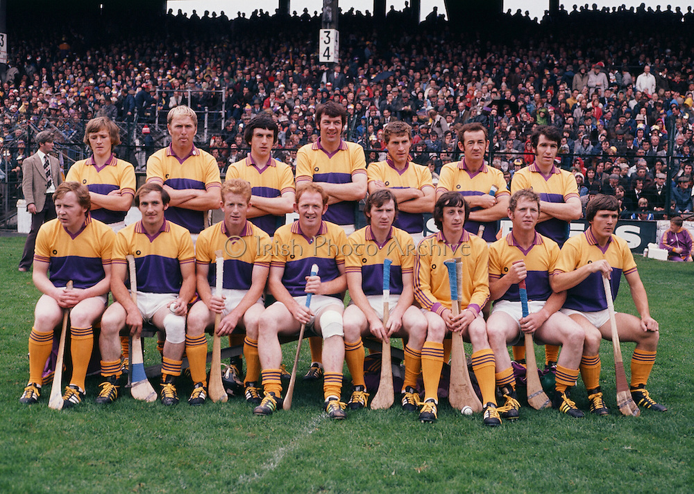 The Wexford team before the All Ireland Senior Hurling Final, Cork v Wexford in Croke Park on the 4th September 1977. Cork 1-17 Wexford 3-8.<br /> <br /> J Nolan, T O'Connor, W Murphy, J Prendergast, L Bennett, M Jacob, C Doran, D Bernie, E Buggy, C Keogh, M Quigley, M Butler, J Quigley, A Doran (capt), J Murphy, Subs J Russell for Prendergast M Casey for J Murphy, E Walsh for Bernie.