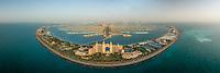 Aerial panoramic view of Aquaventure and the Palm Jumeirah, Dubai, UAE.