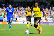 Burton Albion striker Lucas Akins (10) runs down the wing during the EFL Sky Bet Championship match between Burton Albion and Cardiff City at the Pirelli Stadium, Burton upon Trent, England on 5 August 2017. Photo by Richard Holmes.
