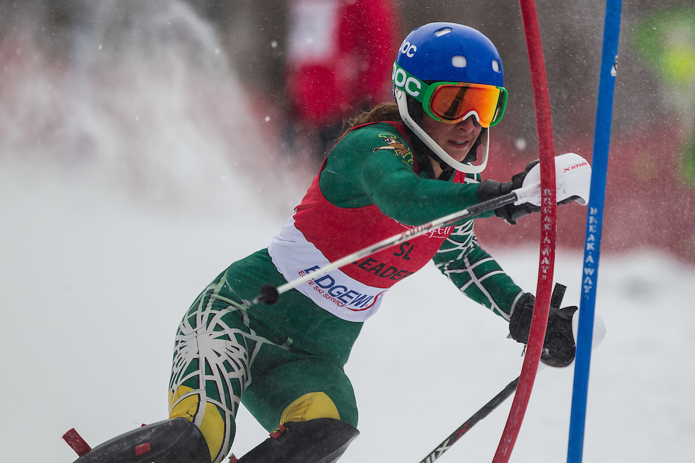 Kate Ryley of the University of Vermont, skis during the first run of the women's slalom at Jiminy Peak on February 14, 2014 in Hancock, MA. (Dustin Satloff/EISA)