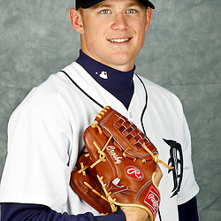 February 28, 2012; Lakeland, FL, USA; Detroit Tigers starting pitcher Casey Crosby (45) poses for photo day in the rec room at the Detroit Tigers Headquarters.  Mandatory Credit: Derick E. Hingle-US PRESSWIRE