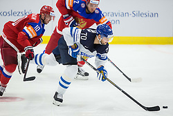 Sergei Mozyakin of Russia vs Teemu Hartikainen of Finland during Ice Hockey match between Finland and Russia at Day 12 in Group B of 2015 IIHF World Championship, on May 12, 2015 in CEZ Arena, Ostrava, Czech Republic. Photo by Vid Ponikvar / Sportida