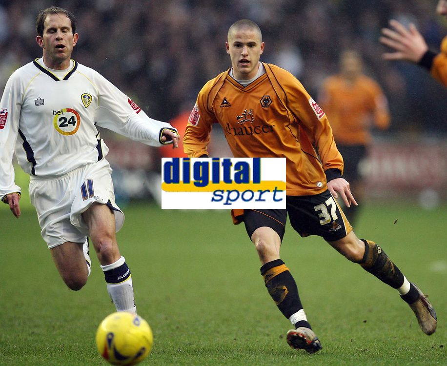Photo: Rich Eaton.<br /> <br /> Wolverhampton Wanderers v Leeds United. Coca Cola Championship. 24/02/2007. Michael Kightly #37 who scored the only goal of the game for Wolves passes as Leeds Eddie Lewis #11 watches left