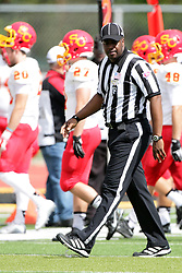 19 September 2015:  Field Judge Sam Banks during an NCAA division 3 football game between the Simpson College Storm and the Illinois Wesleyan Titans in Tucci Stadium on Wilder Field, Bloomington IL