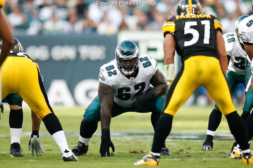 21 Sept 2008: Philadelphia Eagles offensive guard Max Jean-Gilles #62 lines up before a play during the game against the Pittsburgh Steelers on September 21st, 2008.  The Eagles won 15-6 at Lincoln Financial Field in Philadelphia Pennsylvania.