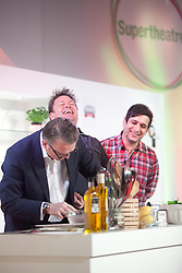 © London News Pictures. 12/04/2012. Gravesend, Kent. L to R Larwrence Keogh, James Martin and Jimmy Mistry share a joke on stage at Glow Bluewater, Kent. Opening day of the BBC Good Food Show Spring at Glow, Bluewater, Kent.  Photo credit should read Manu Palomeque/LNP.