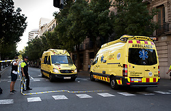 BARCELONA (SPAIN), Aug. 17, 2017  Ambulances are seen near Plaza Catalonia following a terrorist attack in central Barcelona, Spain, on Aug. 17, 2017. Thirteen people were killed, 80 others injured and hospitalized with 15 of them in serious condition in Barcelona terrorist attack on Thursday afternoon, Spanish official said. (Credit Image: © Lino De Vallier/Xinhua via ZUMA Wire)
