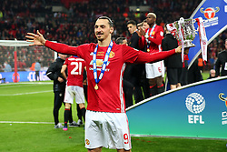 Zlatan Ibrahimovic of Manchester United celebrates with the EFL Trophy - Mandatory by-line: Matt McNulty/JMP - 26/02/2017 - FOOTBALL - Wembley Stadium - London, England - Manchester United v Southampton - EFL Cup Final