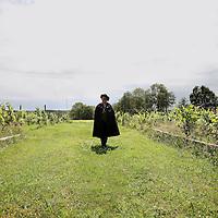 Nederland, Markelo , 19 juni 2010..Televisiepresentatrice Astrid Joosten en Therese Boer, sommelier in drie Michelin sterren restaurant de Librije in Zwolle, tevens schrijfsters van de wijnboeken Vrouwen gek op wijn en het boek Gek op wijn, wandelend tussen de wijnranken tijdens een wandeling over de Markelose berg bij Markelo. .Dutch vineyard in Markelo, in the east of the Netherlands and one of the members of the Confrerie de Sancerre.