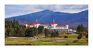 The Omni Mount Washington Resort sits below Mount Washington in the White Mountains of New Hampshire, USA