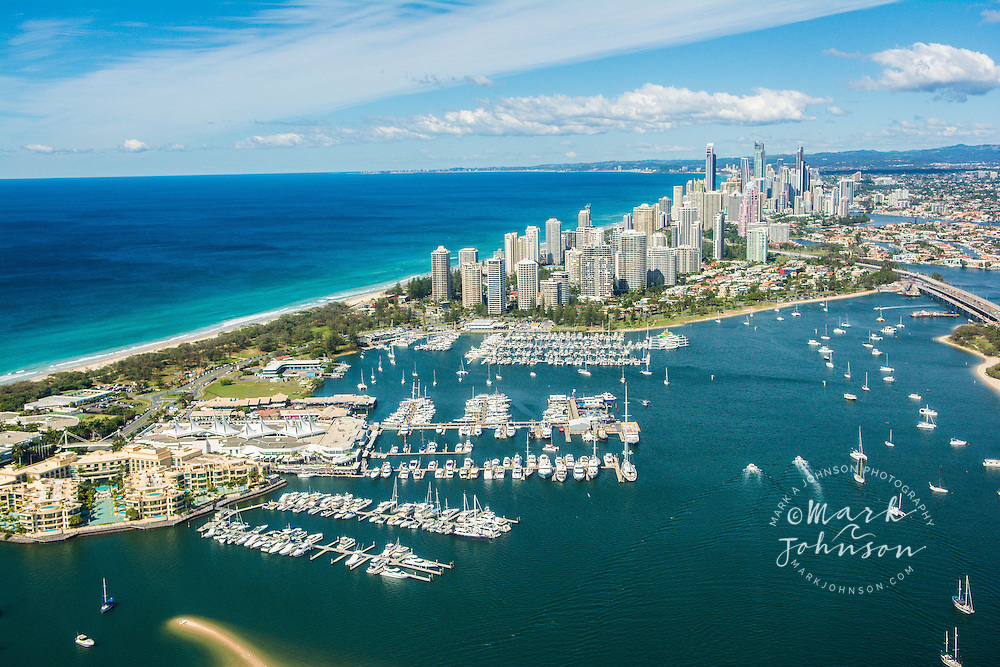 Aerial of the Broadwater & Surfers Paradise skyline, Gold Coast, Queensland, Australia