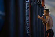 Batgerel Danaa of Mongolia works on the heavy bag at Jackson Wink MMA in Albuquerque, New Mexico on June 9, 2016.