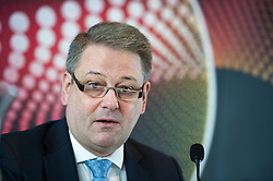 16.02.2015, TUtheSky, Wien, AUT, Pressekonferenz des Lebensmiisteriums und ORF mit dem Titel: Eurovision Song Contest erstmals als Green Event, im Bild Bundesminister für Land- und Forstwirtschaft, Umwelt und Wasserwirtschaft Andrä Rupprechter (ÖVP) // Minister of Agriculture Andrae Rupprechter (OeVP) during press conference of the Austrian Broadcasting Corporation and Ministry of Agriculture, Forestry, Environment and Water Management according to Eurovision Song Contest fist time as a Green Event at TUtheSky in Vienna, Austria on 2015/02/16, EXPA Pictures © 2015, PhotoCredit: EXPA/ Michael Gruber