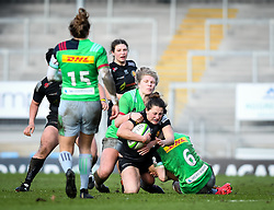 Tove Viksten of Harlequins attempts a tackle on Lauren Cattell of Exeter Chiefs - Mandatory by-line: Andy Watts/JMP - 06/02/2021 - Sandy Park - Exeter, England - Exeter Chiefs Women v Harlequins Women - Allianz Premier 15s