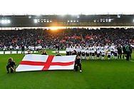 England players lined up for the National Anthems before the FIFA Women's World Cup UEFA Qualifier match between England Ladies and Wales Women at the St Mary's Stadium, Southampton, England on 6 April 2018. Picture by Graham Hunt.